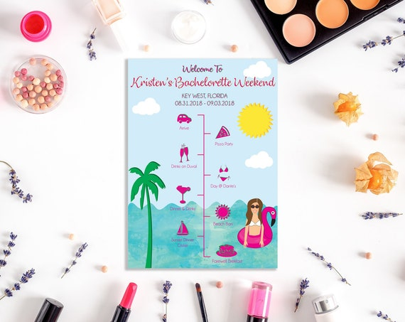 Illustrated Tropical Bachelorette Party Itinerary - Custom - Personalized - Infographic - Party Favors - Bachelorette Party -Party Decor