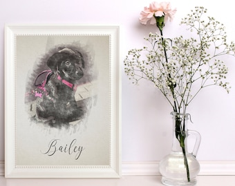 Illustrated Watercolor Pet Prints - Custom - Personalized - Pet Owners - Animals - Pet Gifts - Furry Friends - Pet Portrait - Pet Paintings