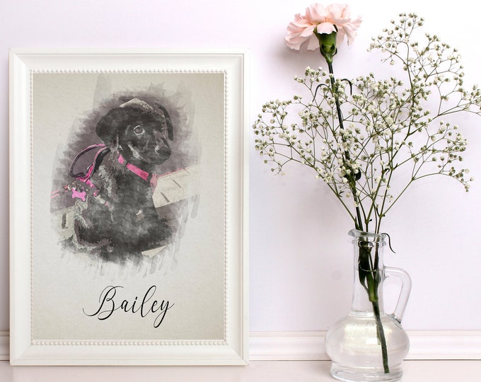 Featured listing image: Illustrated Watercolor Pet Prints - Custom - Personalized - Pet Owners - Animals - Pet Gifts - Furry Friends - Pet Portrait - Pet Paintings