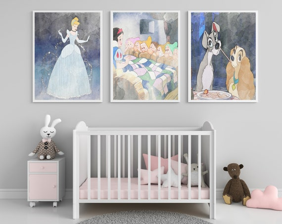 Disney Themed Nursery Wall Art - Illustrated - Baby's Room - Nursery - Children's Art - Print - Watercolor - Disney - Kids Room - Theme Room