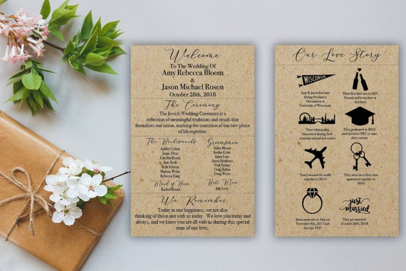 Double Sided Love Story Rustic Wedding Program