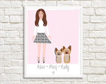 Pet and Owner Portraits - Custom - Personalized - Illustrated - Pet Portraits - Dogs - Cats - Animals - Pets - Custom Print - Pet Prints