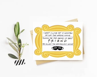 Friends Themed Bridesmaid Thank You Cards - PERSONALIZED - CUSTOM - Illustrated - Friends - Bridesmaids - Bridal Party -Friend TV Show Cards
