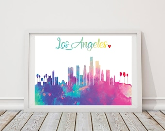 Illustrated Watercolor City Skyline Prints - Personalized - Custom - Watercolor - Decor - ANY US CITY - Home - Print - Framed - City Skyline