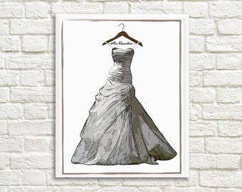 Illustrated Wedding Dress Portrait - Personalized - Custom - Wedding Gift - Couples Gift - Shower Gift - Wedding Dress - Wedding Hangers