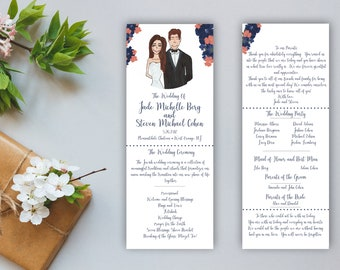 Hand Drawn Illustrated Wedding Programs - Couple Drawing - Weddings Tall Programs - Wedding Party - Custom - Personalized - Printed