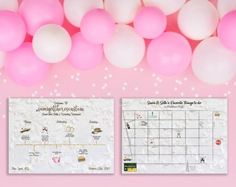 Wedding Weekend Itinerary With Illustrated Map - Personalized - Custom - Illustrated - Wedding Day Timeline - Party Favor - Custom Map