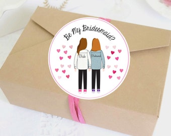 Illustrated Bridesmaid Asks Labels - Bridesmaid Ask Stickers - Custom - Personalized - Digital Template - Bridesmaid Favor - Bridal Party