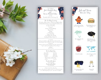 Illustrated Floral Wedding Program - Double Sided Love Story - Wedding Programs - Personalized, Custom - Love Story Timeline - Illustrated