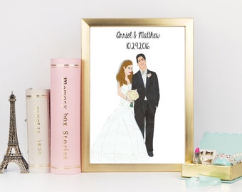 Hand Drawn Illustrated Couples Wedding Portrait - Custom - Personalized - Wedding Day - Drawn - Couples Gift - Anniversary Gift - Weddings