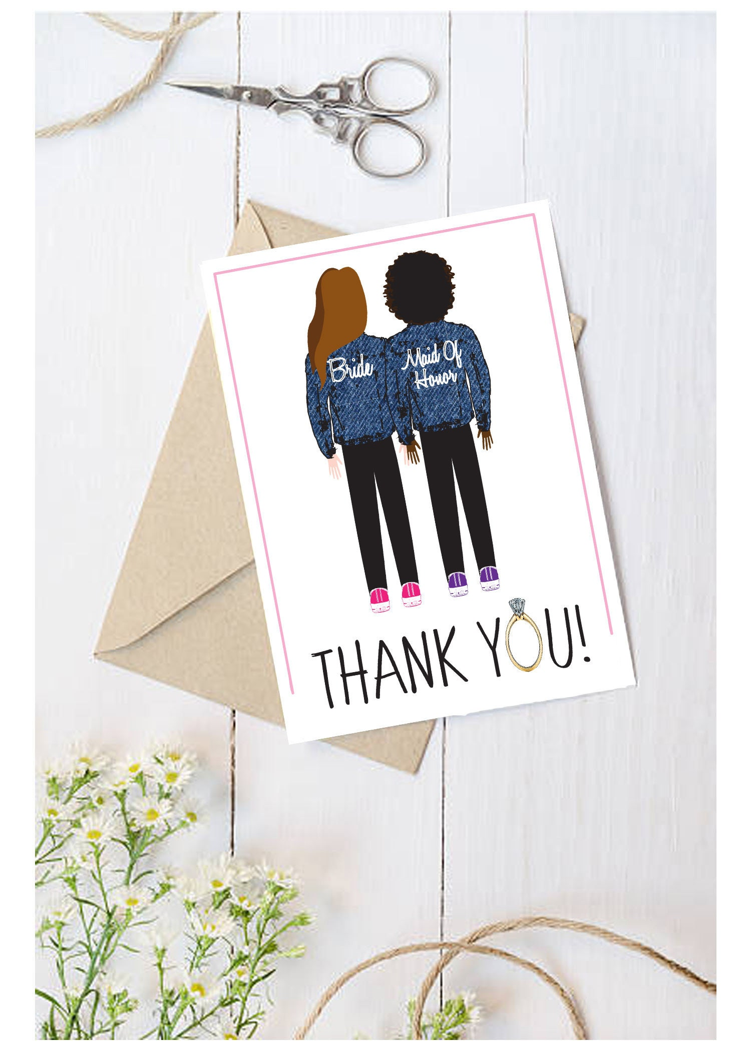 Bridesmaid Thank You Cards - Illustrated - Personalized - Custom ...