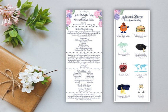Watercolor Floral Double Sided Wedding Program With Love Story