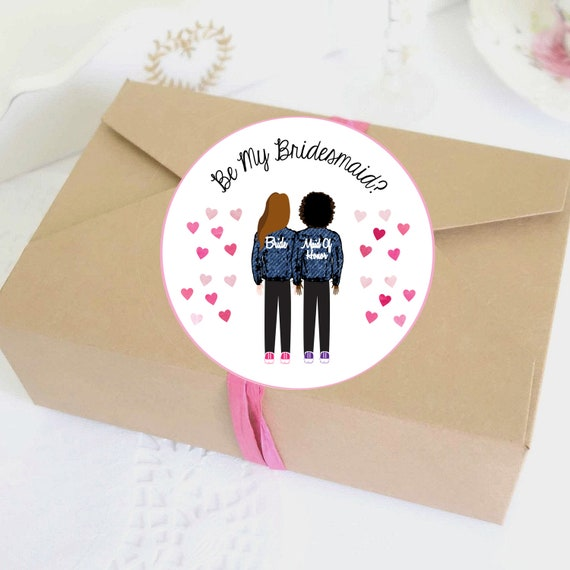 Illustrated Bridesmaid Denim Jacket Asks Labels
