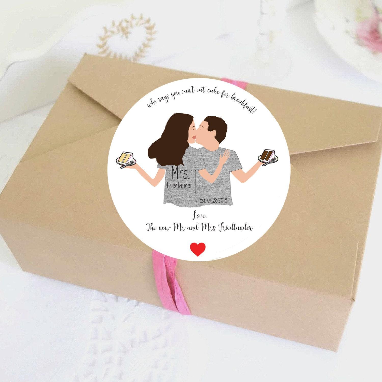 Illustrated Wedding Favor Labels Wedding Stickers Custom