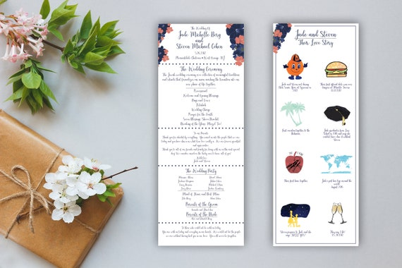 Illustrated Floral Double Sided Wedding Program With Love Story
