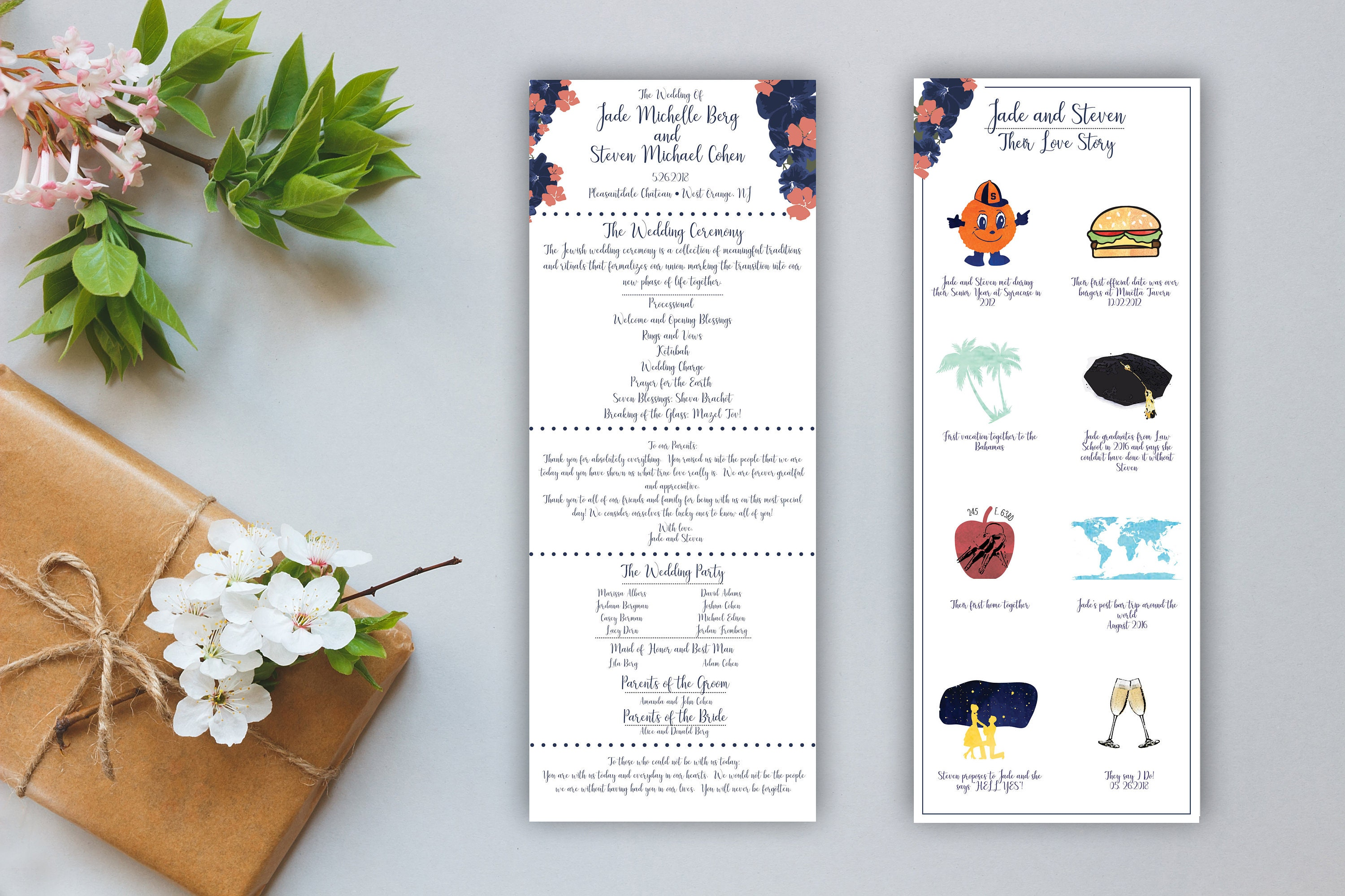 illustrated floral wedding program double sided love story