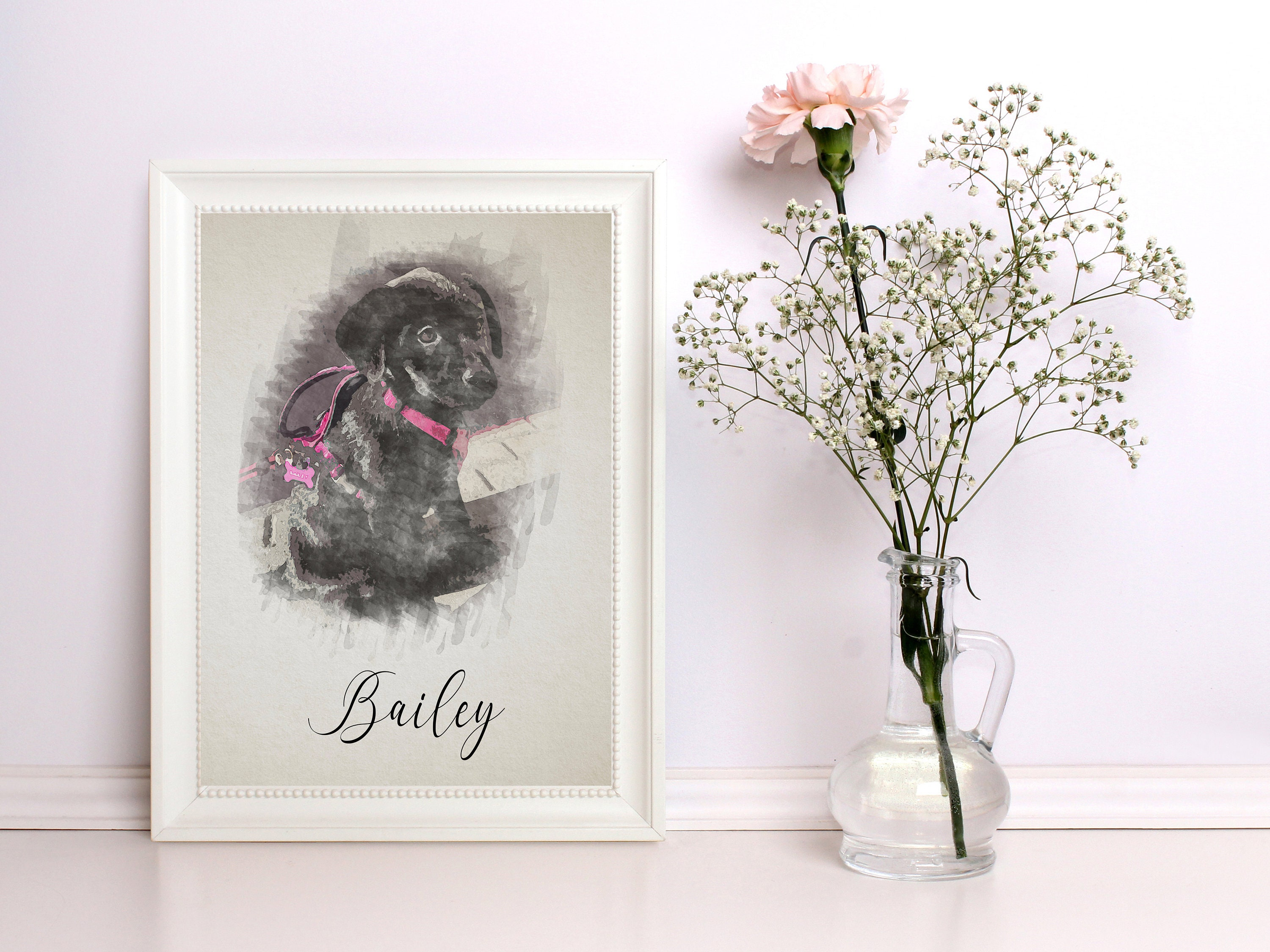 b97a0b1982a7 Illustrated Watercolor Pet Prints - Custom - Personalized - Pet Owners -  Animals - Pet Gifts - Furry Friends - Pet Portrait - Pet Paintings