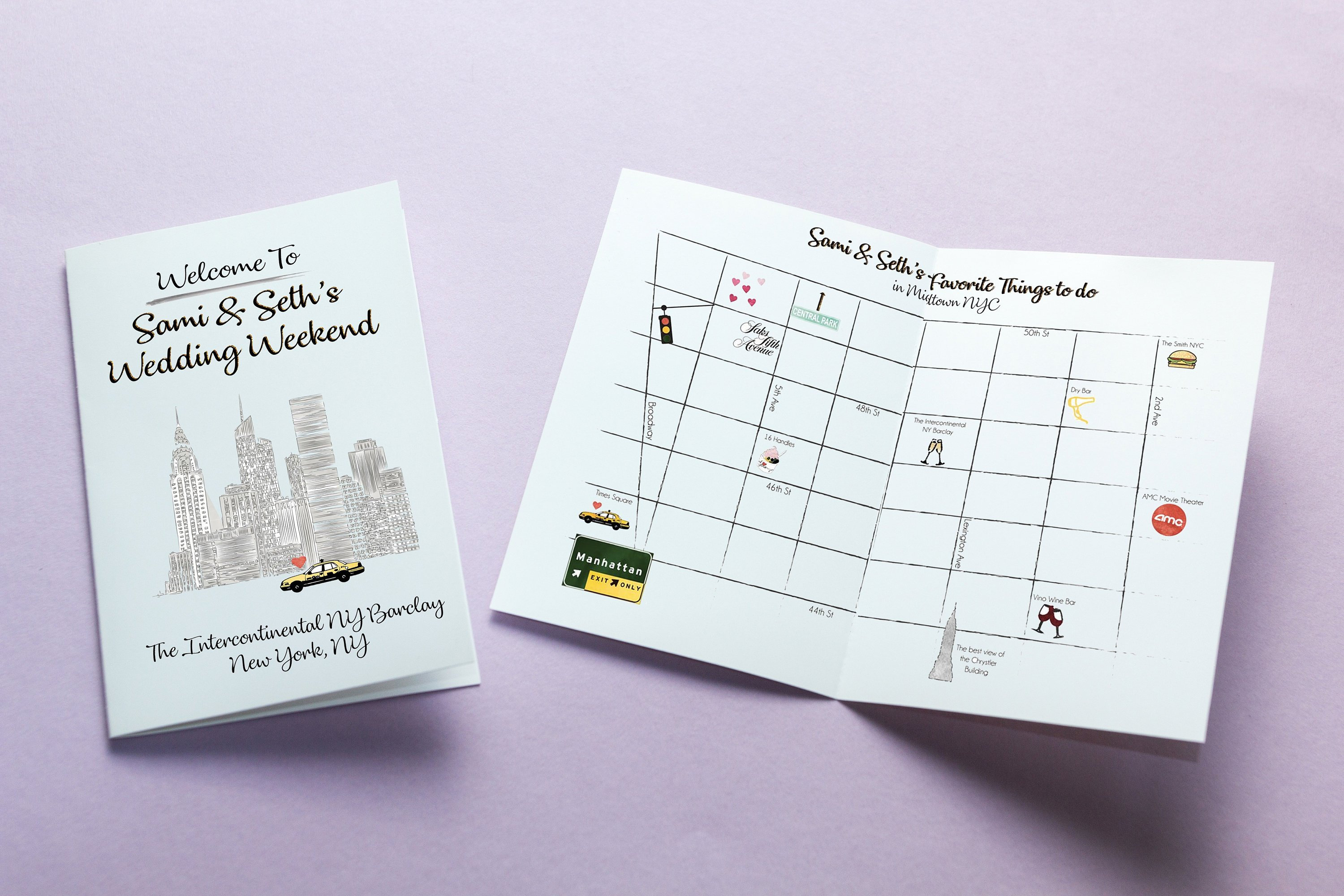 Wedding Weekend Itinerary With City Skyline Graphic & Map