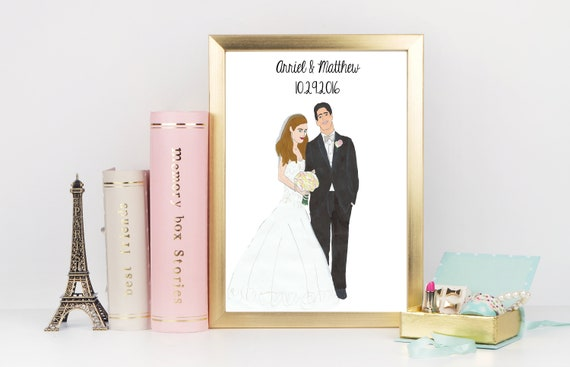 Hand Drawn Couples Wedding Portrait