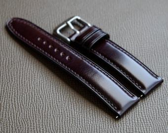 Burgundy Japanese Shell Cordovan leather Custom watch strap