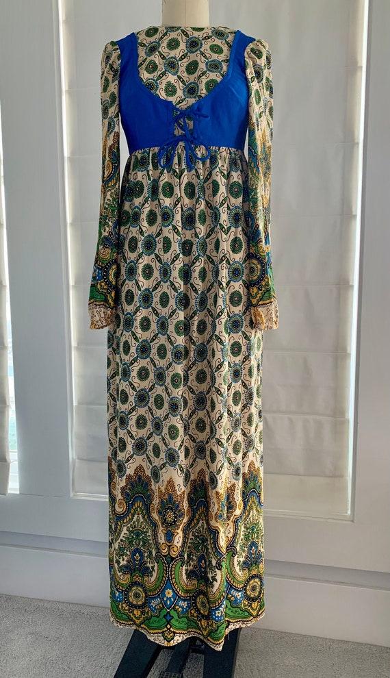 Vintage 1970's Bobbie Brooks Peasant Maxi Dress