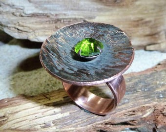Hammered textured metallsmith copper ring