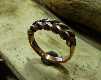 Medieval copper twisted ring .