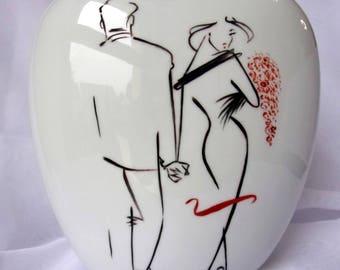 "Porcelain vase, handpainted, ""Minimalist"" Collection"