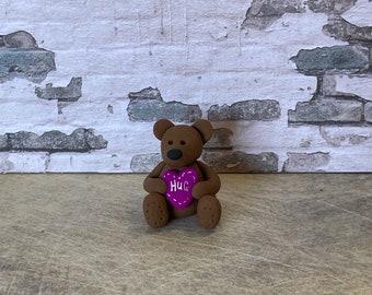 Bear hug clay figure miniature model
