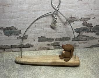 Moongazing hare wall hanger
