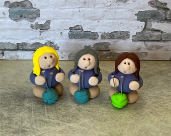 Knitting clay figure miniature model