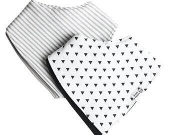 baby bandana bibs, truly reversible, two pack - lane