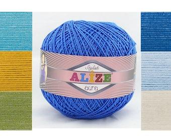 Alize Aura microfiber acrylic yarn spring summer yarn yarn for handfbag lace yarn tatting thread knitting crochet sport weight yarn 4 ply