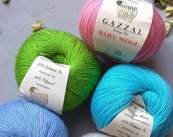Baby Merino Wool, Gazzal Baby Wool, hypoallergenic antibacterial yarn, hand knit yarn wool cashmere, soft warm blend yarn, yarn for kids