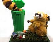 Mischievous Raccoons, Trash Pandas Diorama Pom Poms green