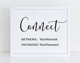 photograph regarding Free Printable Wifi Password Template named Basic wifi pword Etsy