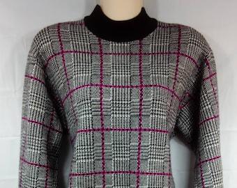 Vintage LIZ CLAIBORNE First Issue Medium Wool Blend Acrylic Sweater Knit Black Pink 136