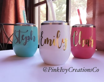 Personalized Wine Tumbler With Lid And Straw Custom Bridesmaid Gift Lover Bridal Party Gifts 21st Birthday For Her Best