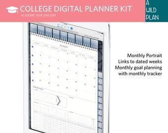 digital planner goodnotes college 2018 2019 student planner etsy