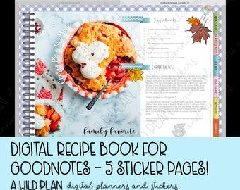GoodNotes iPad Digital planner blank recipe book - digital recipe box meal planner