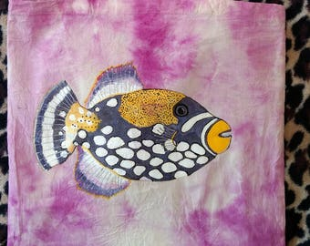 Unique Hand-Painted Trigger Fish Tote Bag
