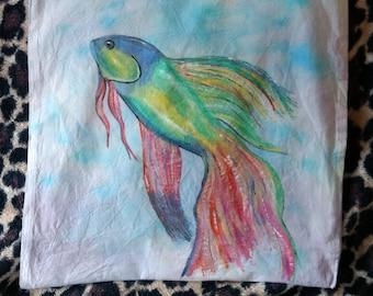 Unique Hand-Painted Betta Fish Tote Bag