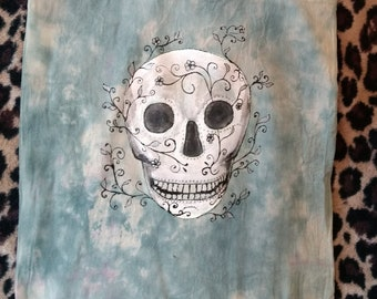 Unique Tie-Dyed and Hand-Painted Tote Bag with Sugar Skull Design