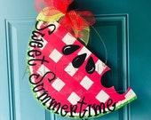 Gingham Watermelon Door Hanger Summer Door Hanger Free Personalization