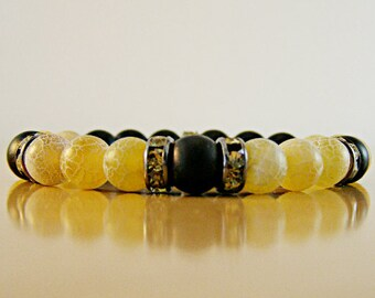 Beauty gift  Natural jewelry Agate bracelet Matte bracelet Yellow jewelry  Gemstone jewelry Yellow bracelet Wife gift Bracelet Woman gift