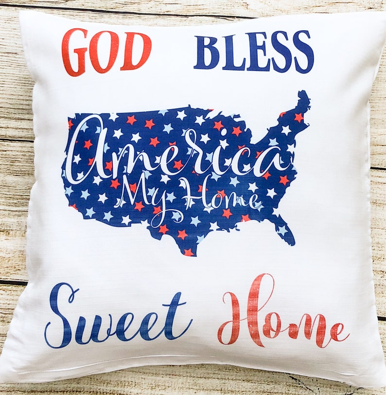 Gift Pillow cover Independence Day|USA Throw Pillow cover|Fourth of July America Home Sweet Home