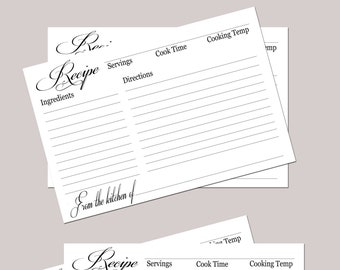 Simple Recipe card Digital Download