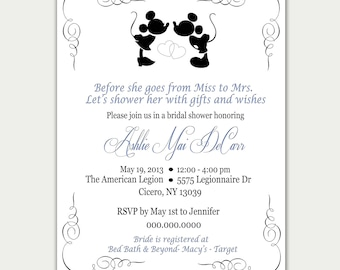 b95915a8a4b Disney Bridal Shower Invitation   AND OR Thank you Card