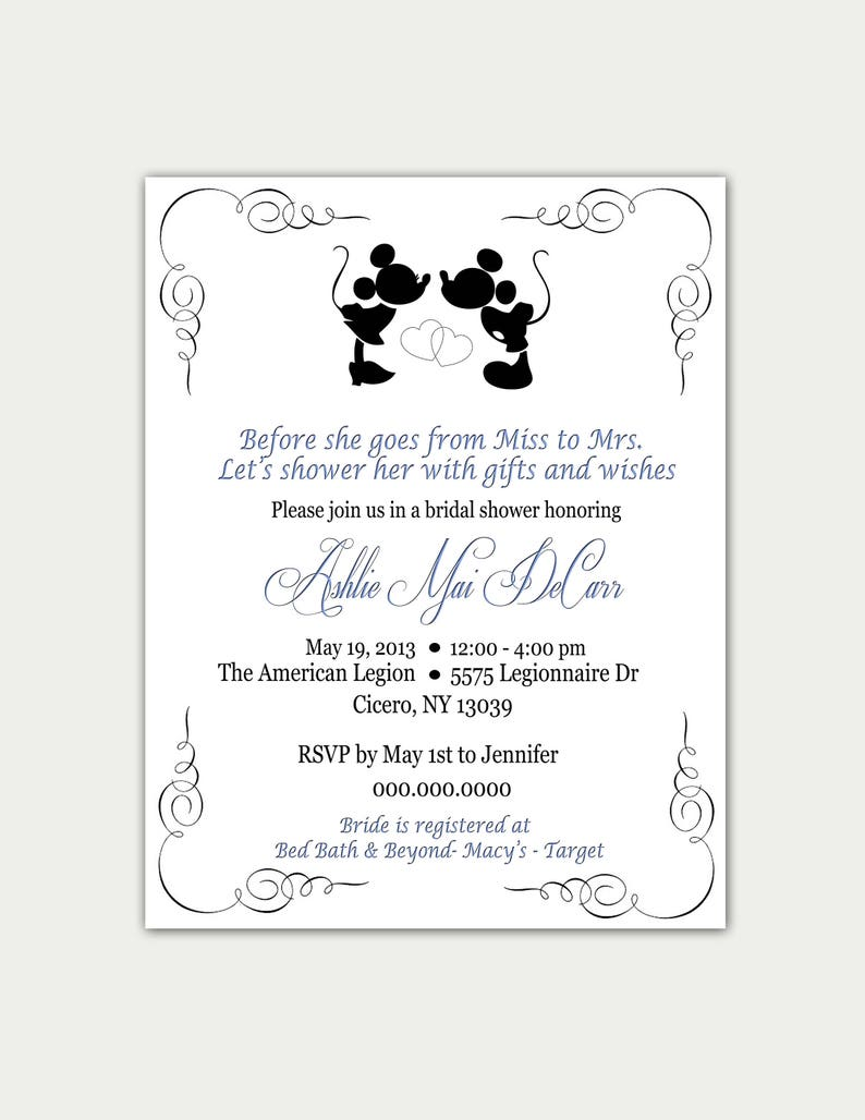 ca50ba19662 Disney Bridal Shower Invitation   AND OR Thank you Card