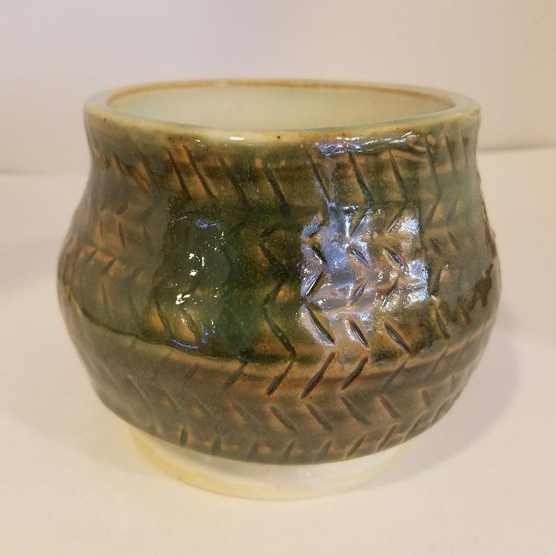 Green and White Hatch Mark Vase
